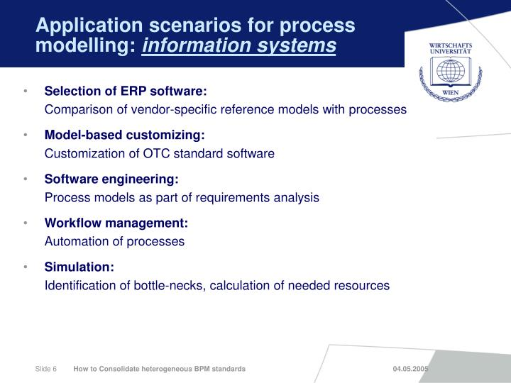Application scenarios for process modelling: