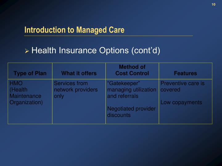 Introduction to Managed Care