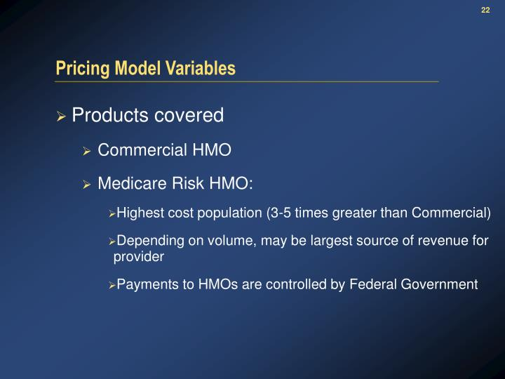 Pricing Model Variables