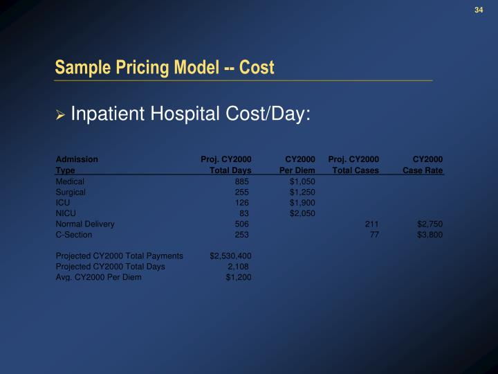 Sample Pricing Model -- Cost