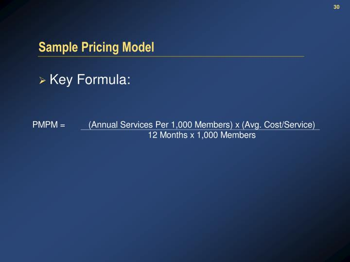 Sample Pricing Model