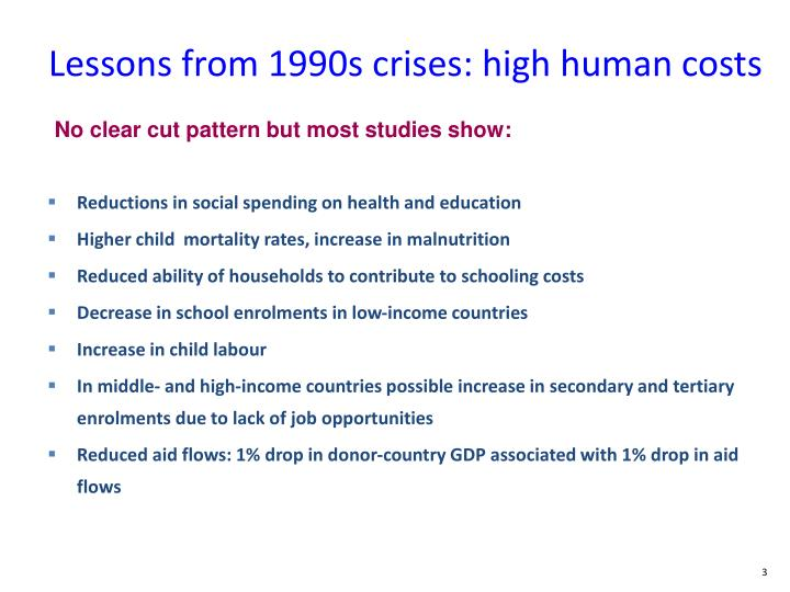 Lessons from 1990s crises: high human costs