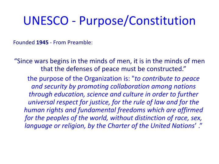 Unesco purpose constitution