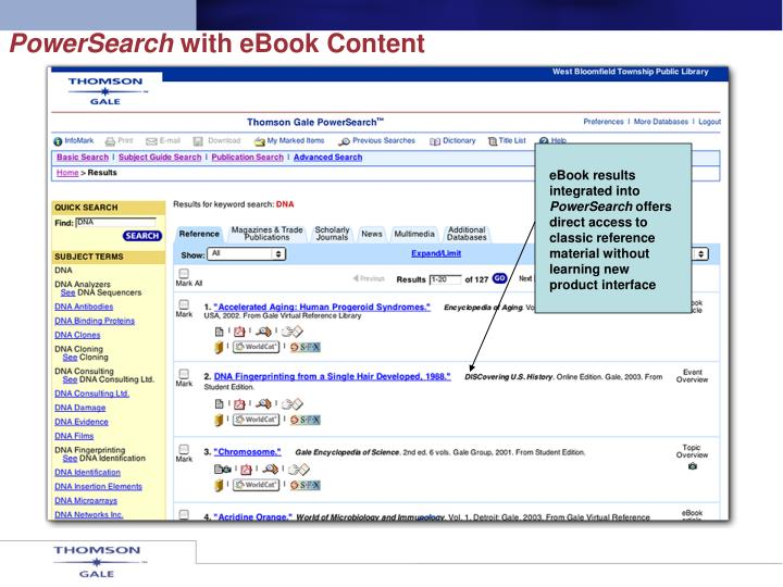 eBook results integrated into