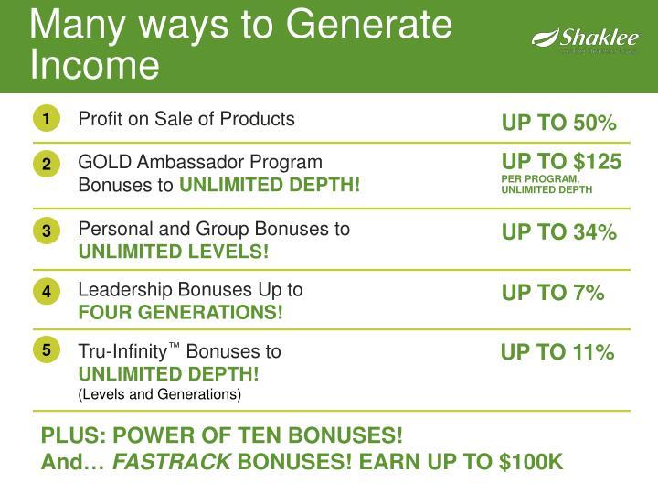 Many ways to Generate