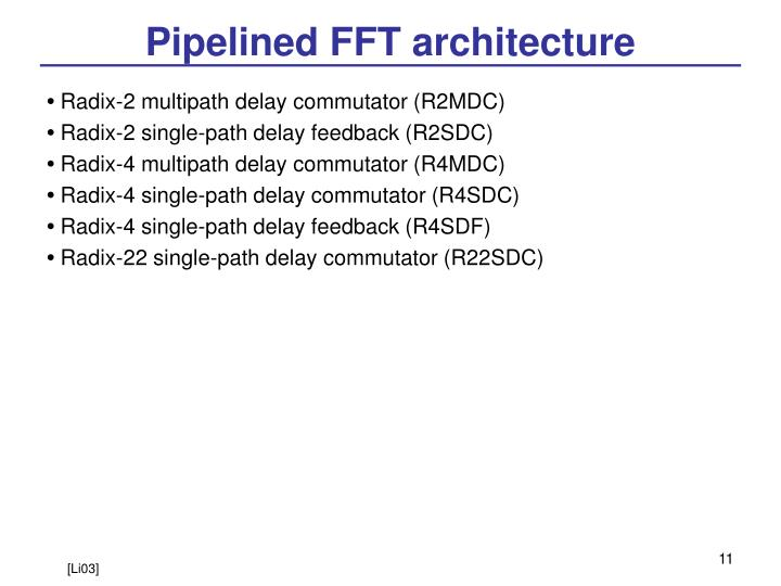 Pipelined FFT architecture
