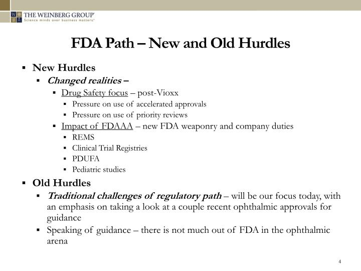 FDA Path – New and Old Hurdles