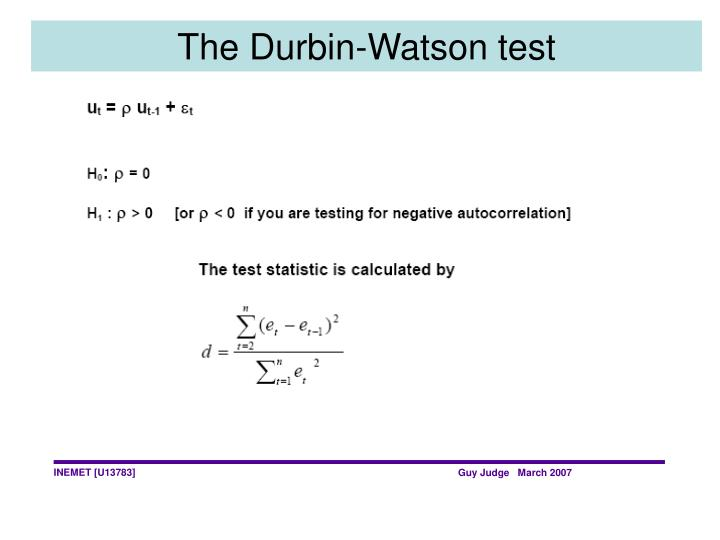 The Durbin-Watson test