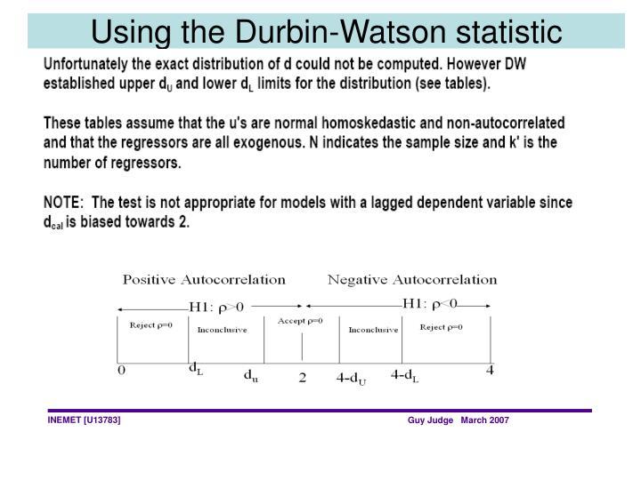 Using the Durbin-Watson statistic