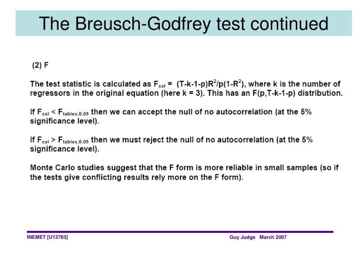 The Breusch-Godfrey test continued