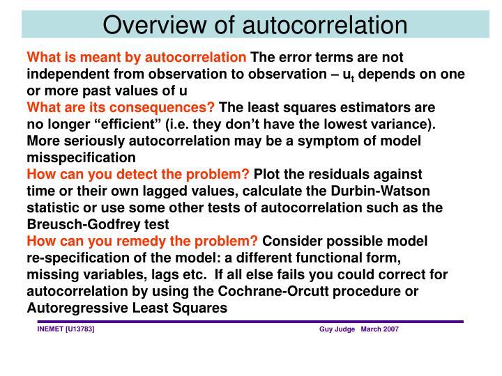 Overview of autocorrelation
