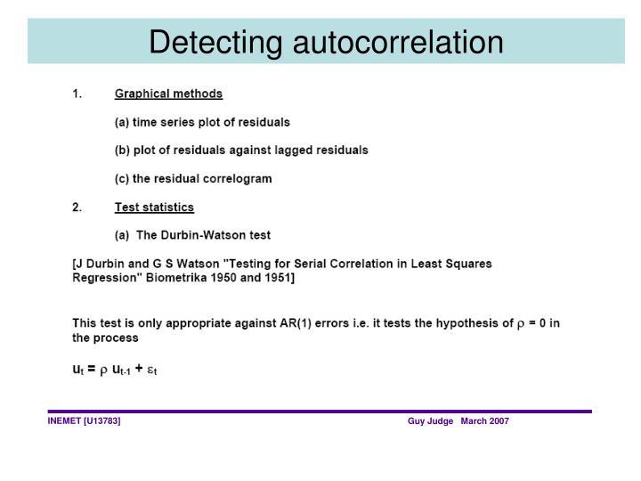 Detecting autocorrelation