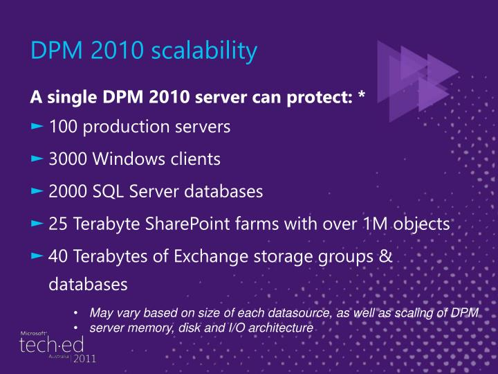 DPM 2010 scalability