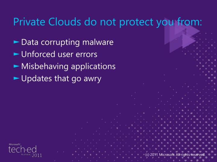 Private Clouds do not protect you from: