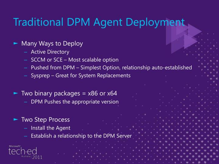 Traditional DPM Agent Deployment
