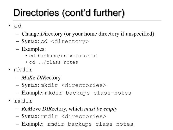 Directories (cont'd further)