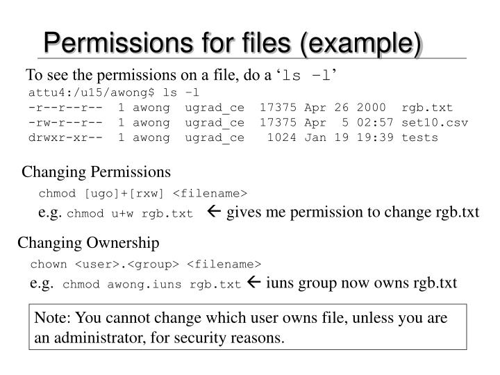Permissions for files (example)