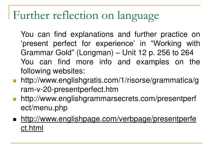 Further reflection on language