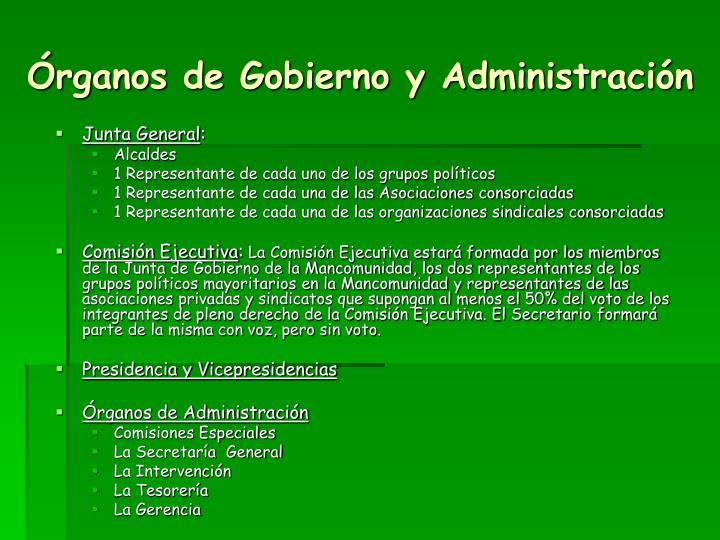 Órganos de Gobierno y Administración