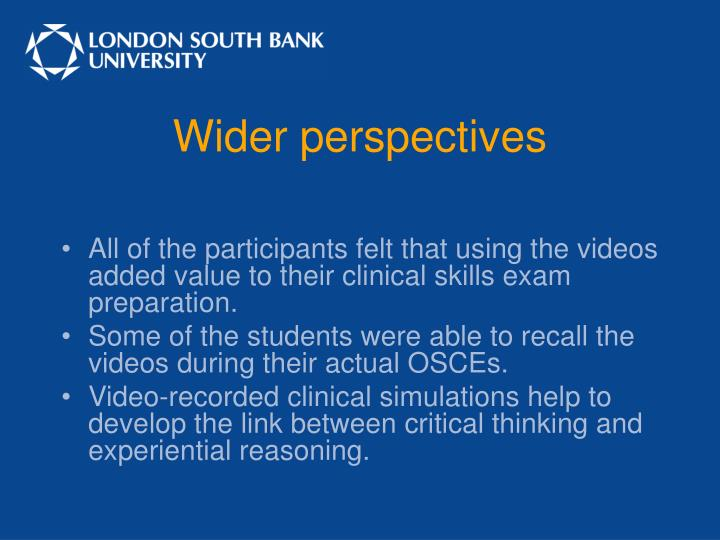 Wider perspectives