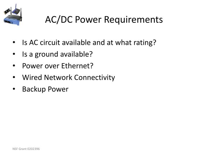 AC/DC Power Requirements