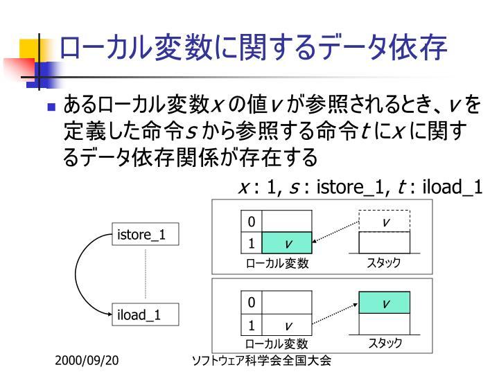 ローカル変数に関するデータ依存