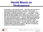 harold bloom on shakespeare