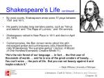 shakespeare s life continued