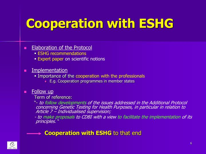 Cooperation with ESHG