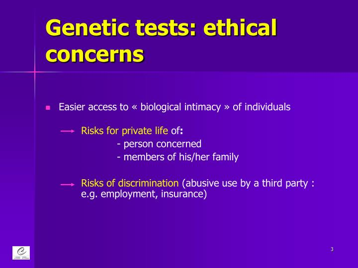 Genetic tests: ethical concerns