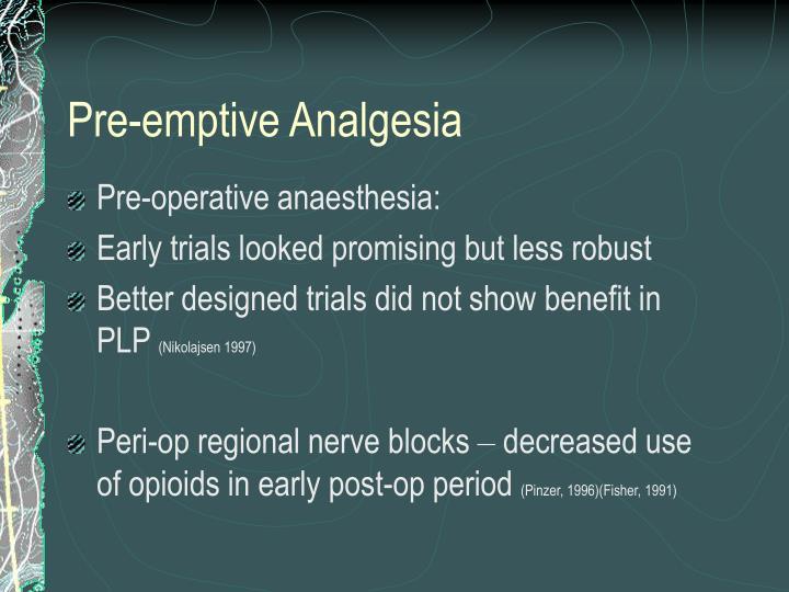 Pre-emptive Analgesia