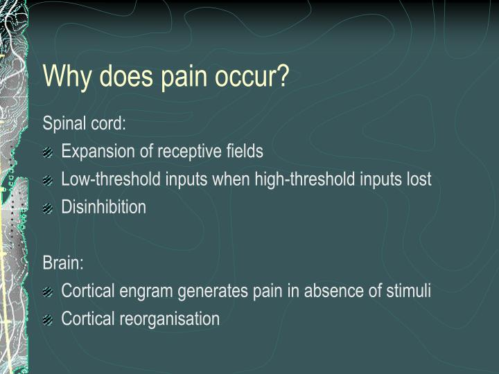 Why does pain occur?