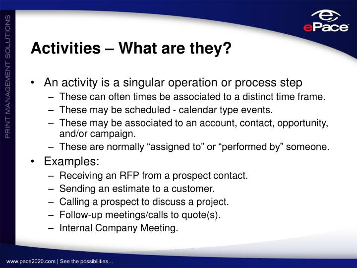 Activities – What are they?