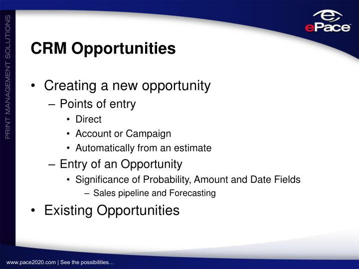 CRM Opportunities