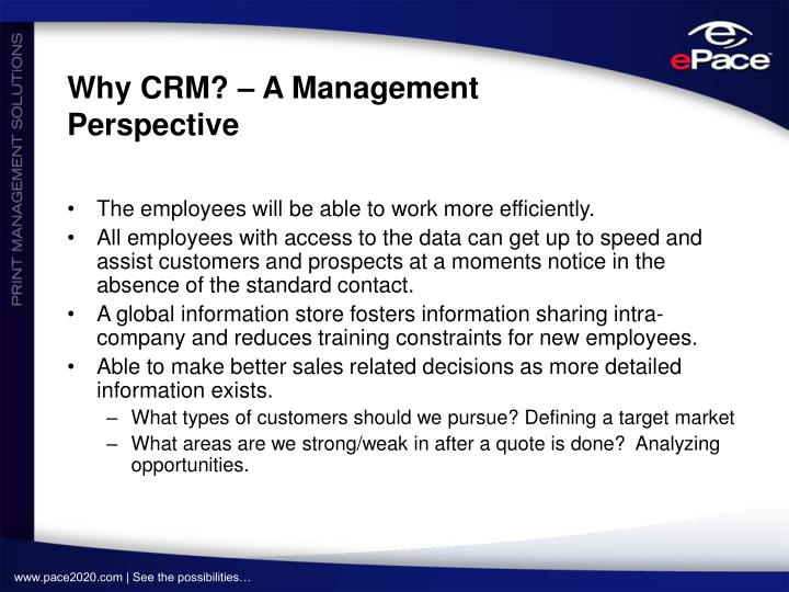 Why CRM? – A Management Perspective
