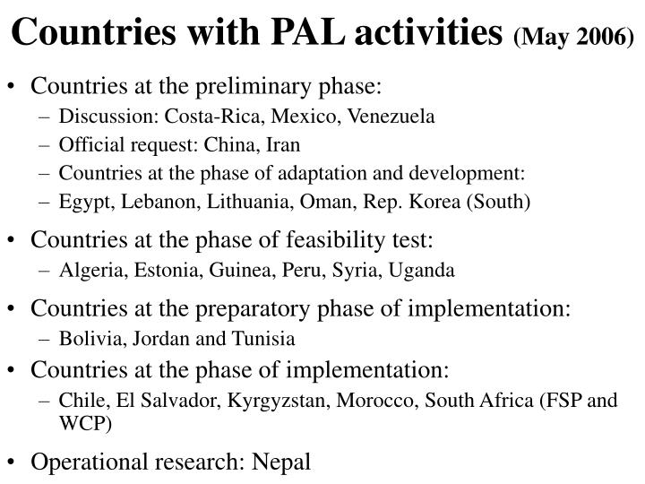 Countries with PAL activities