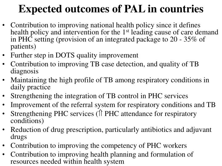 Expected outcomes of PAL in countries