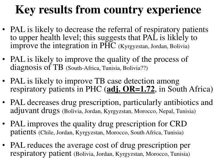 Key results from country experience