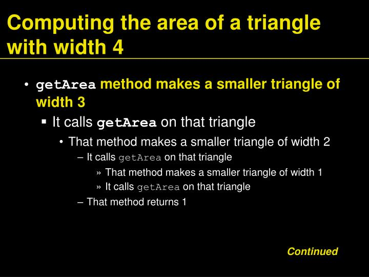 Computing the area of a triangle with width 4
