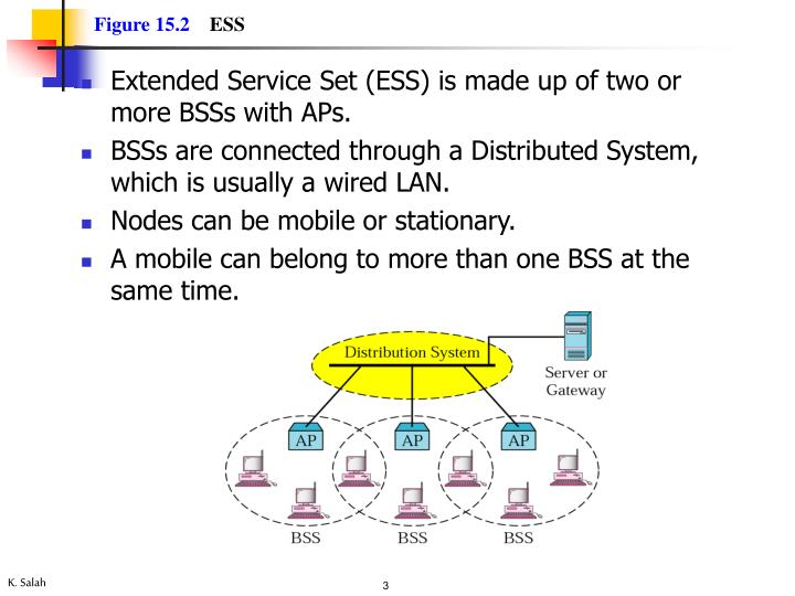 Extended Service Set (ESS) is made up of two or more BSSs with APs.