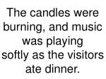 the candles were burning and music was playing softly as the visitors ate dinner