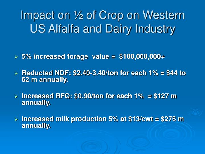 Impact on ½ of Crop on Western US Alfalfa and Dairy Industry