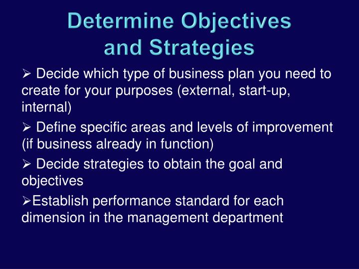 Decide which type of business plan you need to create for your purposes (external, start-up, internal)