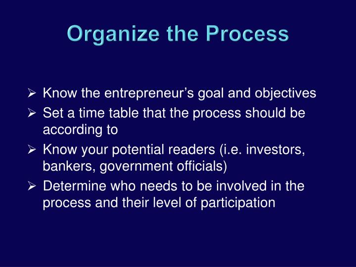 Know the entrepreneur's goal and objectives