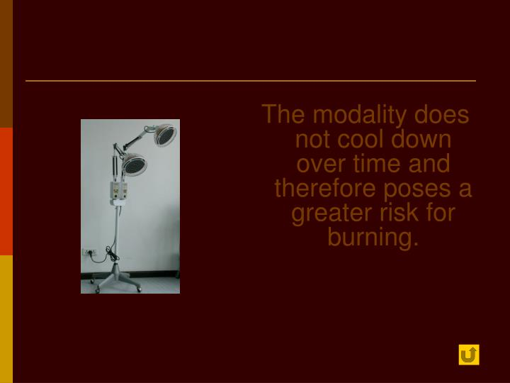 The modality does not cool down over time and therefore poses a greater risk for burning.