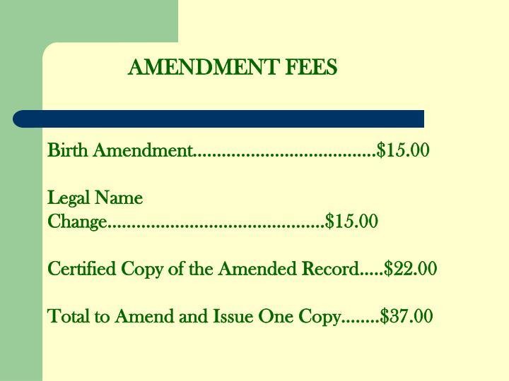 AMENDMENT FEES