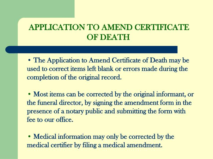 APPLICATION TO AMEND CERTIFICATE