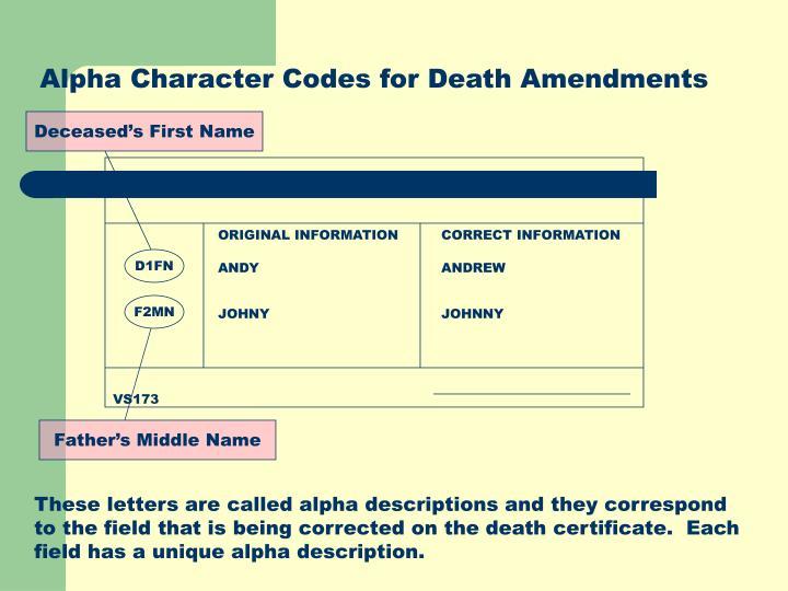 Alpha Character Codes for Death Amendments