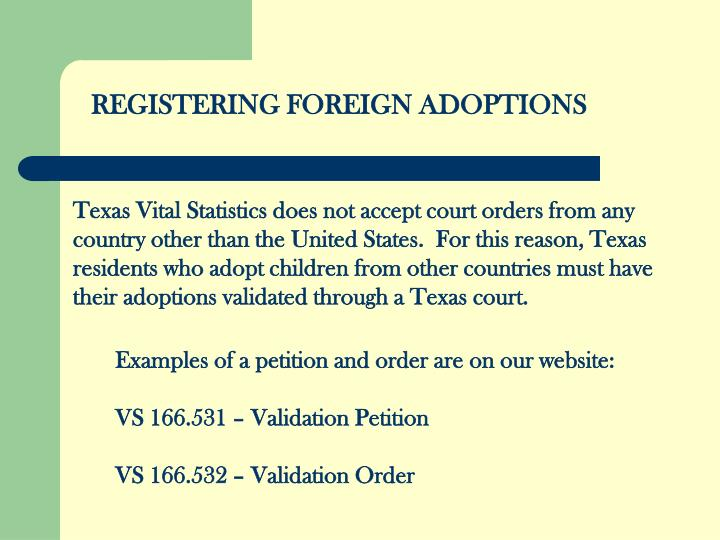 REGISTERING FOREIGN ADOPTIONS