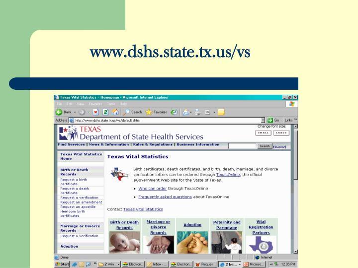 www.dshs.state.tx.us/vs